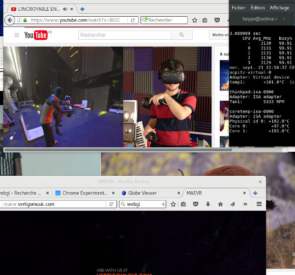 Stress test playing Youtube videos in Firefox, CPU at 102°
